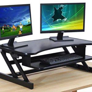 Standing Desk - the DeskRiser - Height Adjustable Sit Stand Up Dual Monitor Office Computer Desk