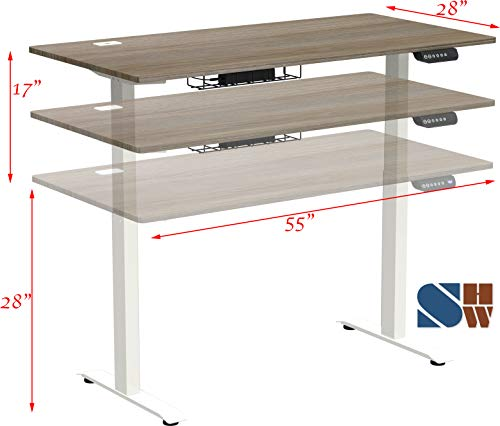 Dimensions SHW 55-Inch Large Electric Height Adjustable Computer Desk, 55 x 28 Inches, Oak