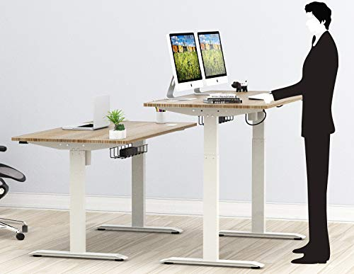 Stunning SHW 55-Inch Large Electric Height Adjustable Computer Desk, 55 x 28 Inches, Oak