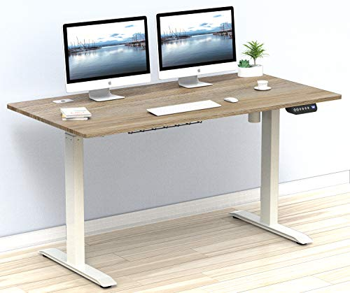 OAK Colored SHW 55-Inch Large Electric Height Adjustable Computer Desk, 55 x 28 Inches